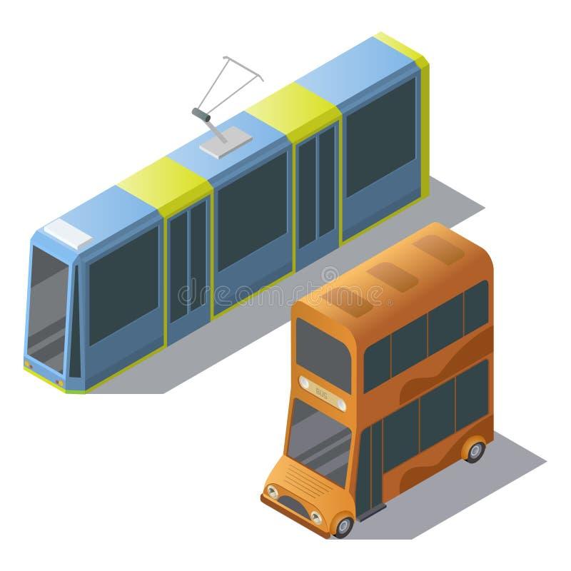 Autobús y tranvía isométricos del autobús de dos pisos del vector ilustración del vector