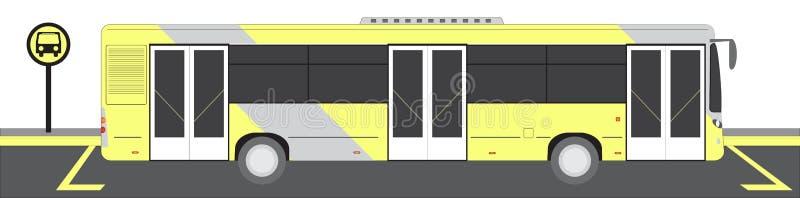 Autob?s de la ciudad en el ejemplo del vector de la parada de autob?s stock de ilustración