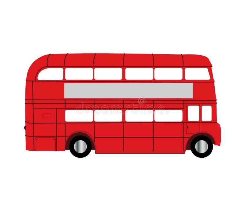 Autob?s rojo del autob?s de dos pisos aislado en el fondo blanco ilustración del vector