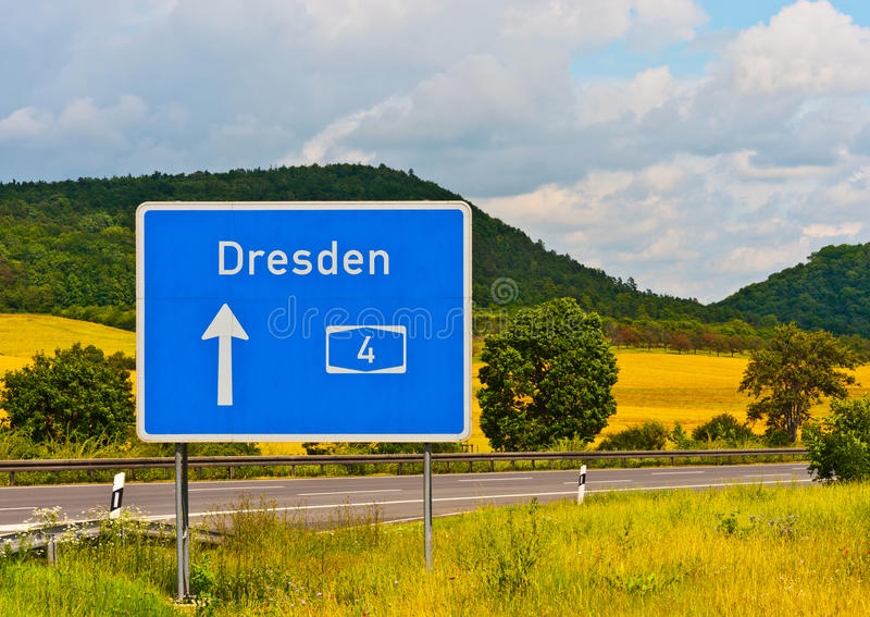 Autobahn 4 Dresden. Street-sign on the german autobahn 4 with direction Dresden royalty free stock photo