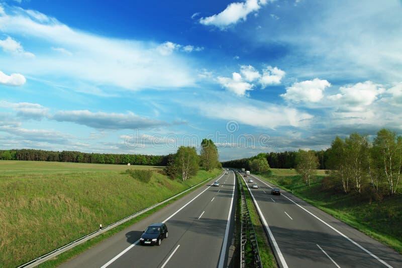 Autobahn. (motorway) in Germany between Berlin and Hamburg royalty free stock photo
