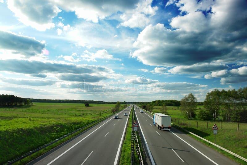 Autobahn. (motorway) in Germany between Berlin and Hamburg stock image