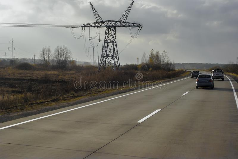 Autobahn, high-speed highway on the expanses of Ukraine stock images