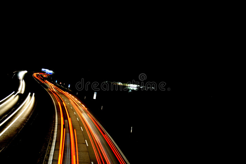 Autobahn /highway curve motion royalty free stock photo