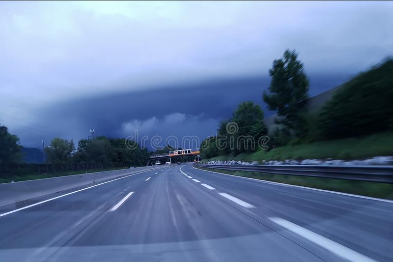 Autobahn. In inclement weather stock image
