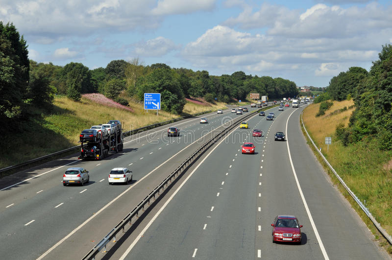 Autobahn M61 stockbild