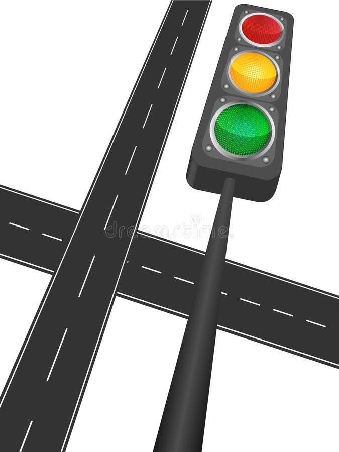 Autobahn und Ampel stock abbildung