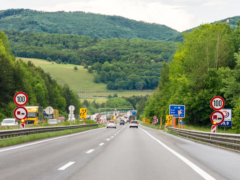 Autobahn in Vienna Woods, Austria. Traffic on Autobahn A21 in Vienna Woods near Vienna in Lower Austria, Austria royalty free stock photography