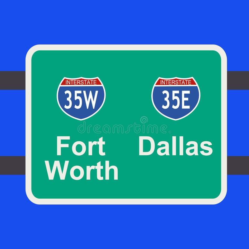 Autobahn zum Dallas-Zeichen stock abbildung
