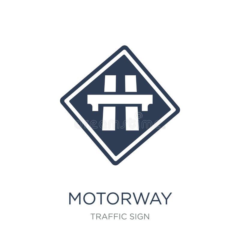 Autobahnzeichenikone Modische flache Vektor Autobahn-Zeichenikone auf whi stock abbildung