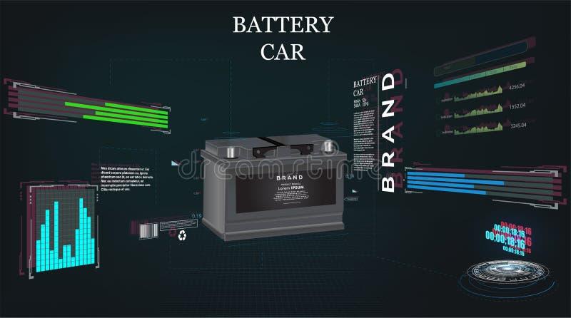 Autobatterie, High-Techer Konzepthintergrund futuristisches sci FI stock abbildung