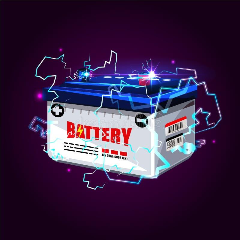Autobatterie mit Lichteffekt der elektrischen Funken Energieenergie c vektor abbildung