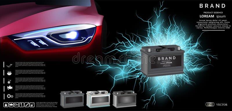Autobatterie mit Lichteffekt der elektrischen Funken Energieenergiekonzept - Vektorillustration vektor abbildung
