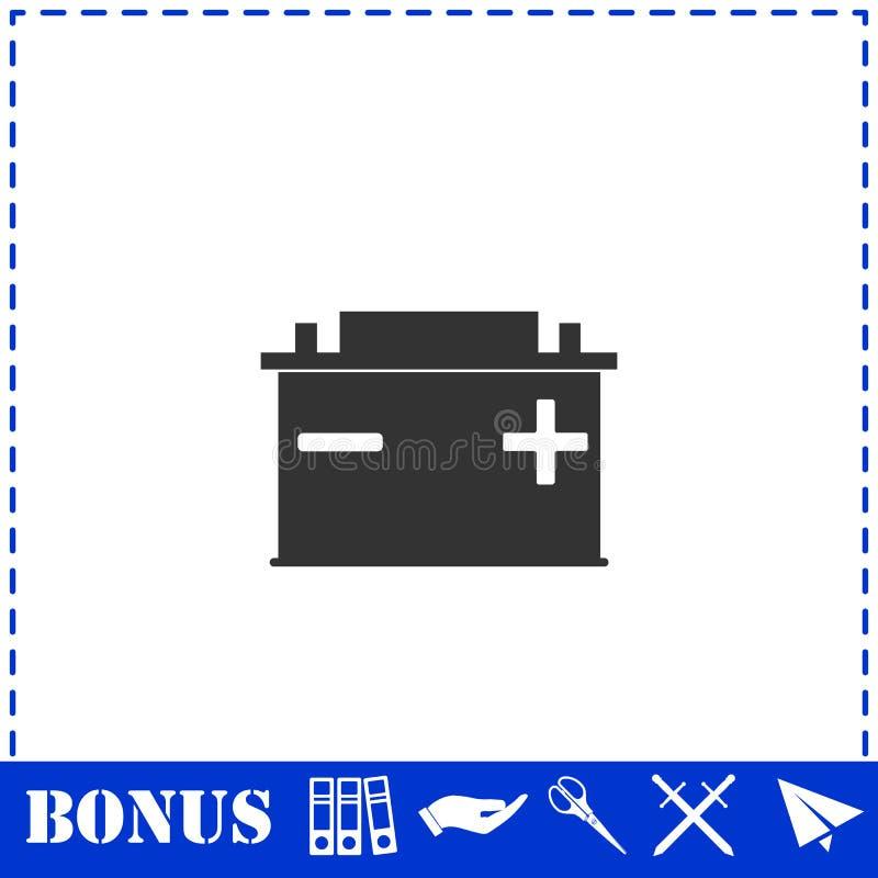 Autobatterieikone flach vektor abbildung