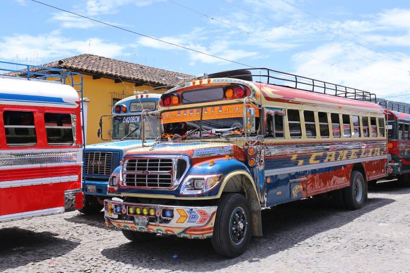 Autobus Antigua de poulet au Guatemala - mai 2015 photo libre de droits