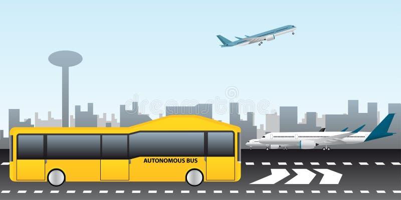 Autobus autonome à l'aéroport illustration stock