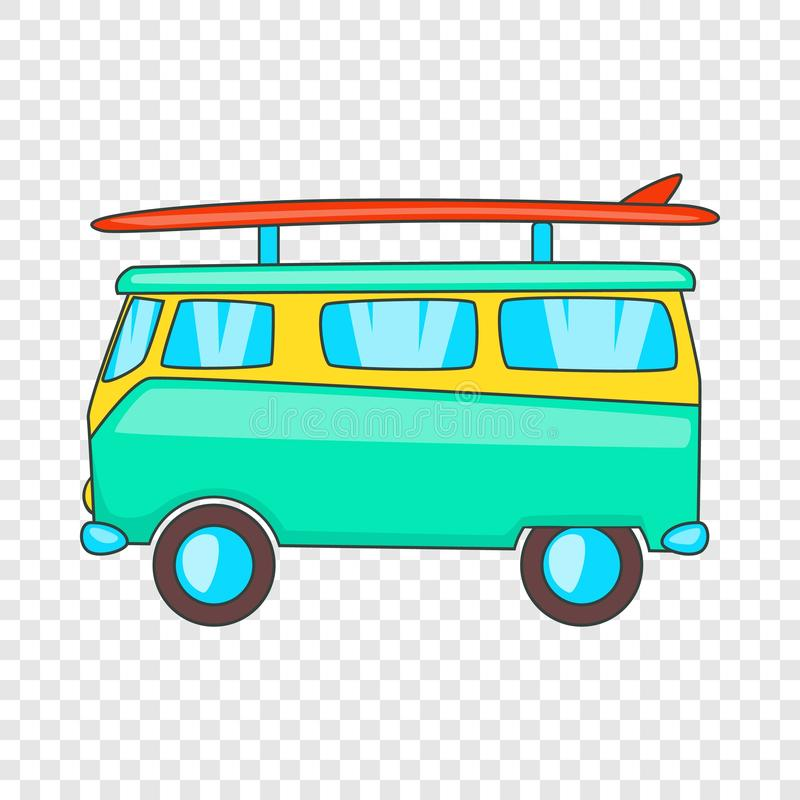 Autobus avec l'ic?ne de planche de surf, style de bande dessin?e illustration libre de droits