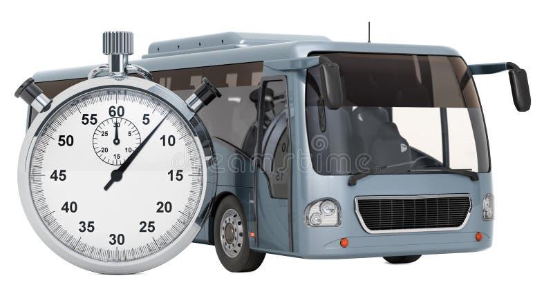 Autobus avec le chronomètre, concept de réservation rendu 3d illustration stock