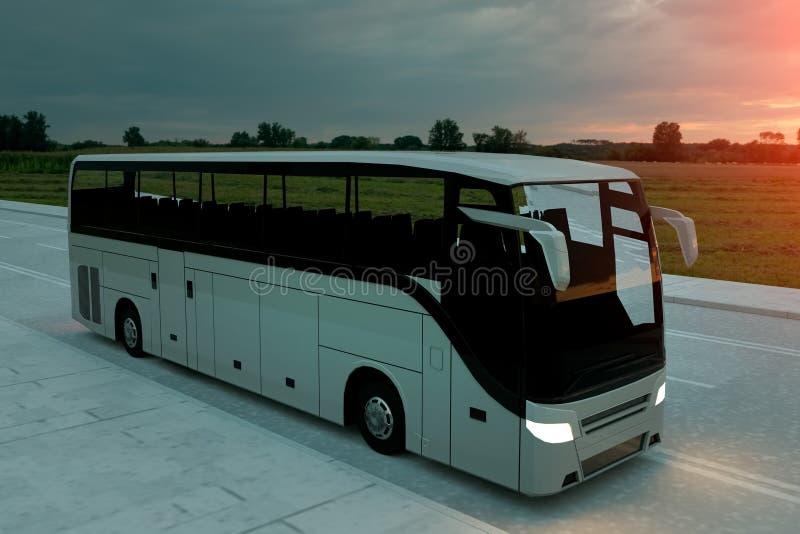 Autobus blanc de touristes sur la route, route Entra?nement tr?s rapide Concept touristique et de voyage illustration 3D illustration stock