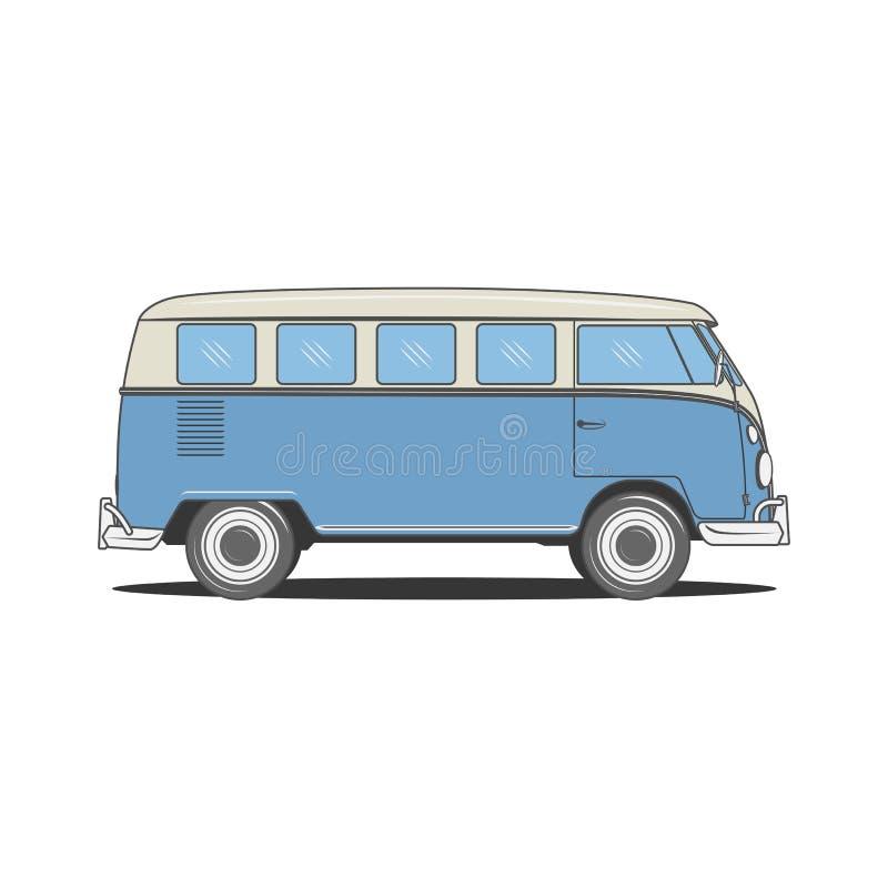 Autobus bleu de rétro campeur pour votre conception illustration de vecteur