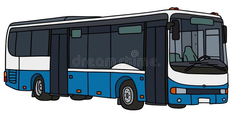 Autobus bleu et blanc de ville illustration stock