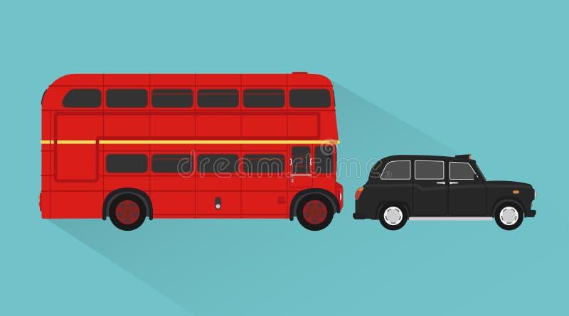 Autobus britannique, style plat de conception de transport de passagers de taxi illustration stock