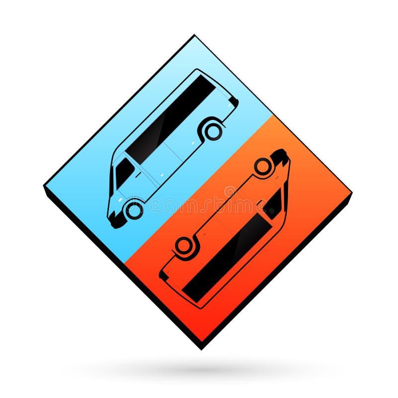 Autobus clair de cube en calibre d'icône bleue et orange de couleur illustration de vecteur