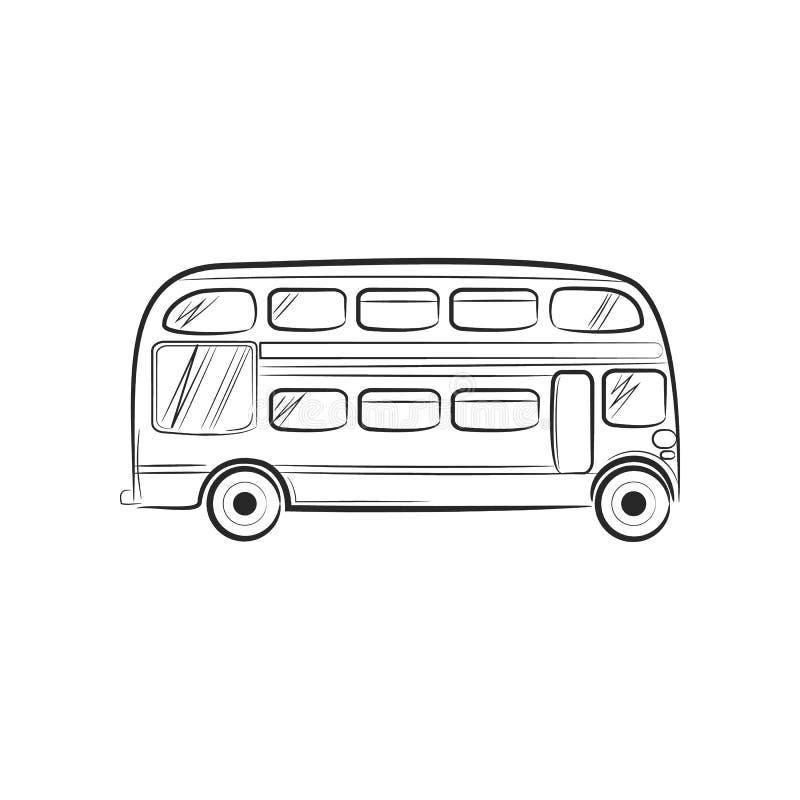 Autobus d'icône de voyage de transport de croquis d'aspiration de main illustration libre de droits