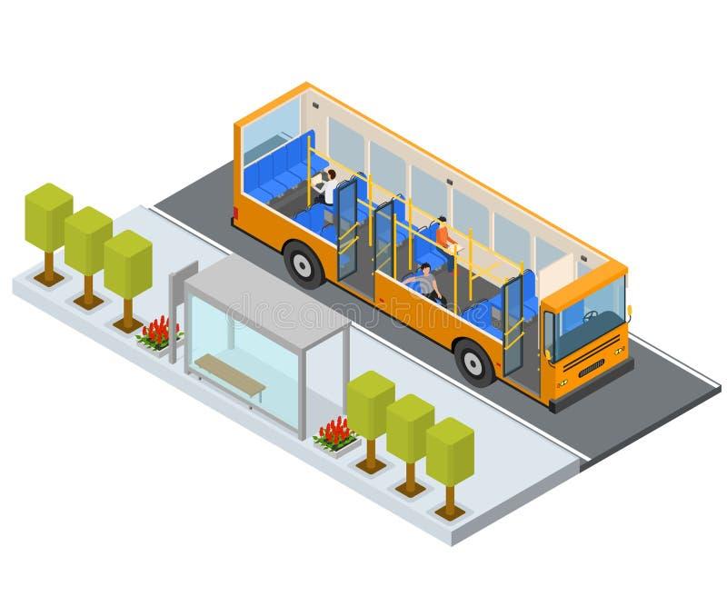 Autobus da estação da parada do ônibus com opinião isométrica dos povos e dos assentos Vetor ilustração stock