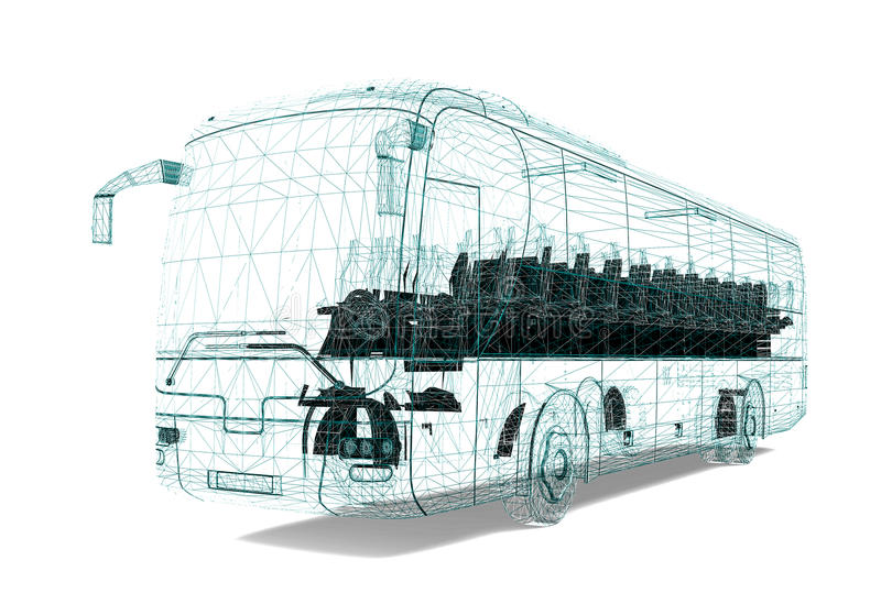 Autobus de cadre de fil illustration de vecteur