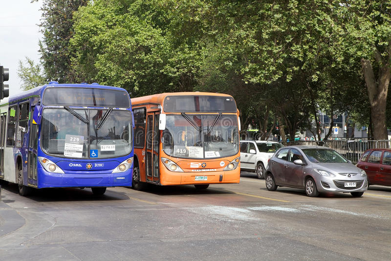 Autobus de Transantiago à Santiago, Chili images stock
