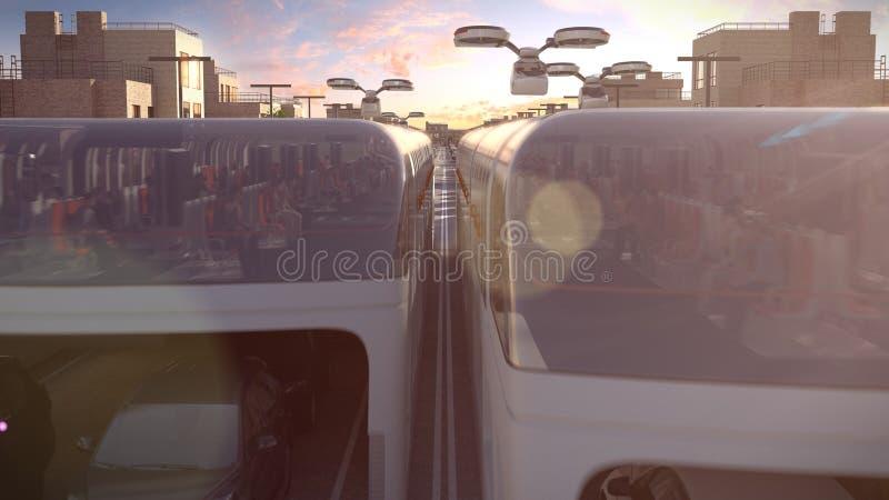 Autobus de ville de l'avenir L'embouteillage Temps de coucher du soleil illustration 3D illustration libre de droits