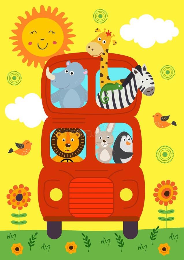 Autobus drôle de Londres avec l'avant de vue d'animaux illustration stock
