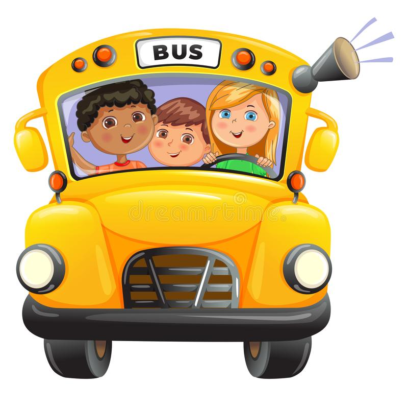 Autobus giallo con bambini fotografia stock