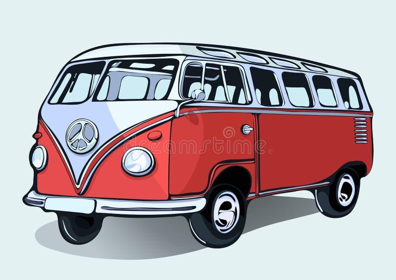 Autobus hippie de vintage, rétro voiture, main-dessin Autobus rouge de bande dessinée avec l'ombre illustration stock