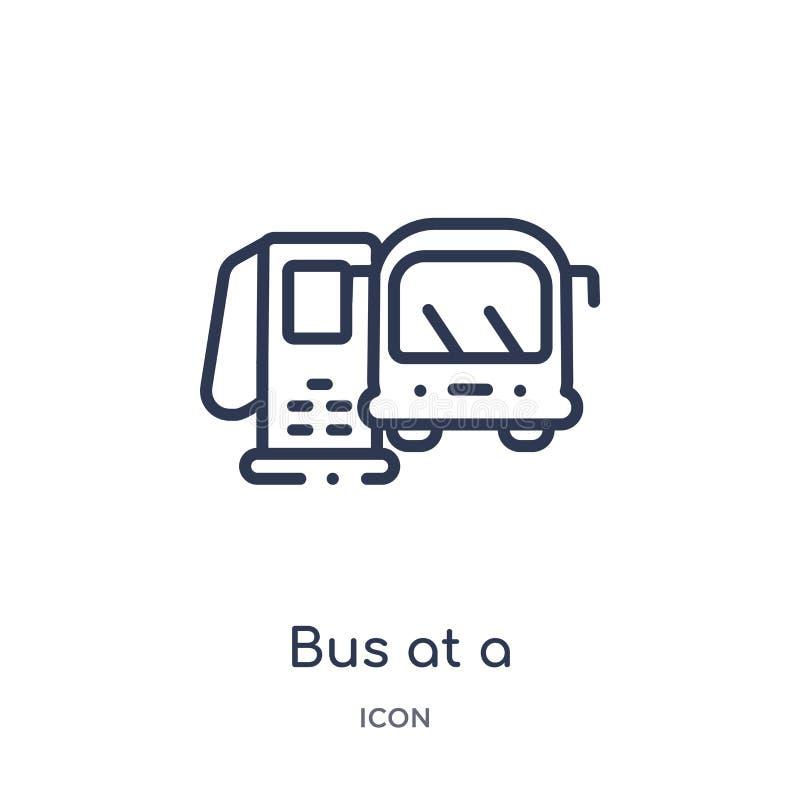 Autobus linéaire à une icône de station d'essence de collection d'ensemble de Mechanicons Ligne mince autobus à une icône de stat illustration stock