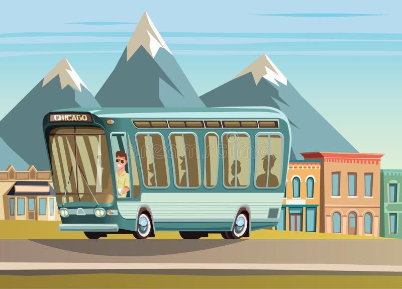 Autobus na wiejskiej drodze i mały tawn w tle ilustracji