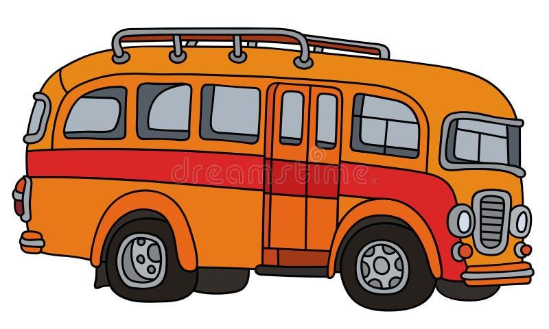 Autobus orange classique drôle illustration stock