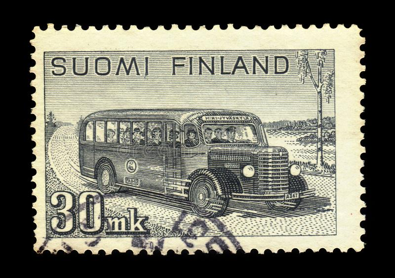 Autobus postal interurbain, Finlande image stock