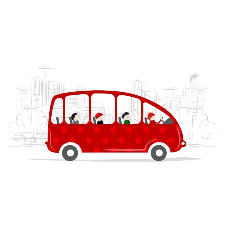 Autobus rouge avec des personnes sur la rue de ville illustration de vecteur