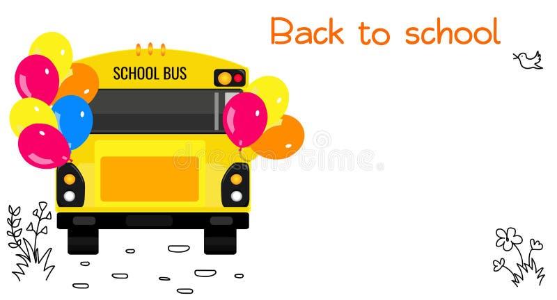 Autobus scolaire avec des ballons, des griffonnages et l'espace de copie illustration de vecteur