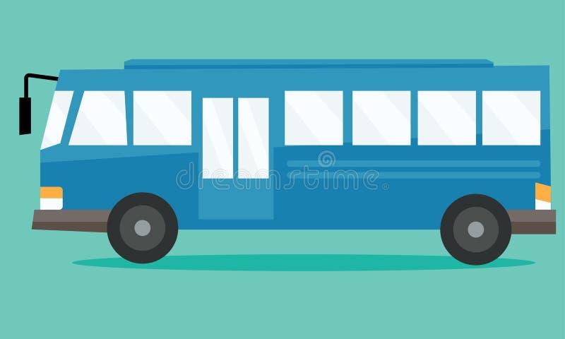 Autobus scolaire d'isolement dans le style plat Vue de côté illustration libre de droits
