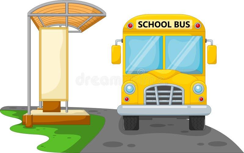 Autobus scolaire de bande dessinée avec l'arrêt d'autobus illustration de vecteur