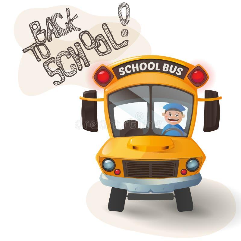 Autobus scolaire drôle illustration stock