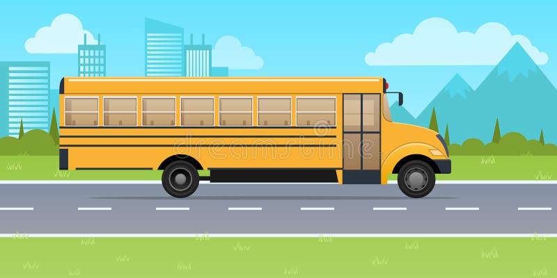 Autobus scolaire jaune classique, sur le fond des gratte-ciel urbains illustration de vecteur