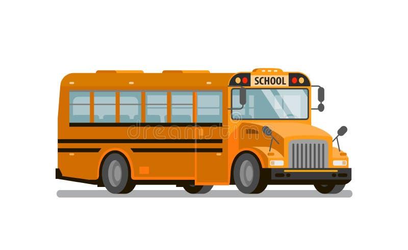 Autobus scolaire jaune Transport des étudiants et des élèves Illustration de vecteur illustration stock