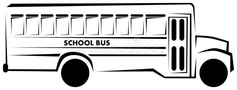 Autobus scolaire stylisé en noir et blanc d'isolement illustration stock