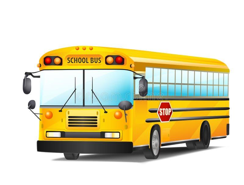Autobus scolaire sur le blanc Vecteur illustration libre de droits