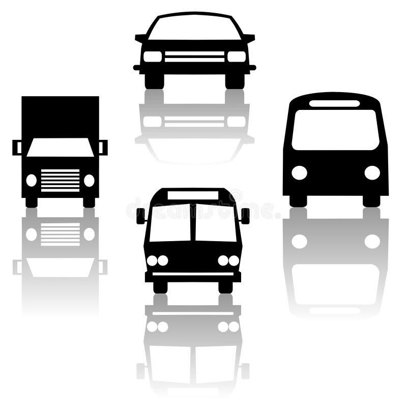 autobus sylwetka pociągu ciężarówka drogowa ilustracji