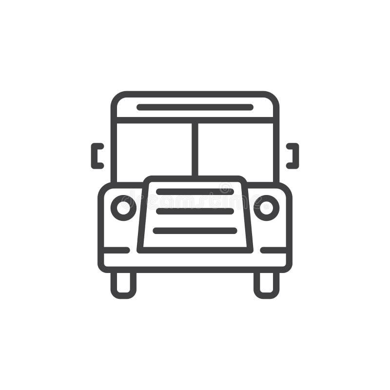 Autobus szkolny kreskowa ikona, konturu wektoru znak, liniowy stylowy piktogram odizolowywający na bielu royalty ilustracja